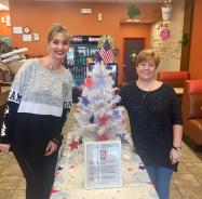 Our giving tree from March 2018 collecting items for our local veterans.