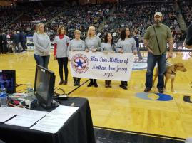 The Blue Star Mothers of Northern New Jersey-NJ6, Jason, and Pete at our on-court presentation. It was an honor to honor Jason!! Thank you for your service sir!